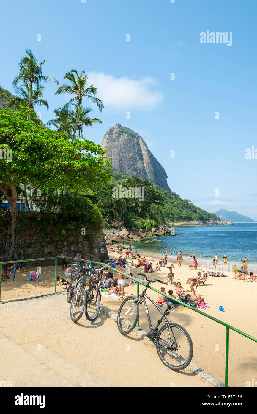 RIO DE JANEIRO, BRAZIL - OCTOBER 20, 2015: Bicycles stand parked at the entrance to Praia Vermelha Red Beach. - Stock Image