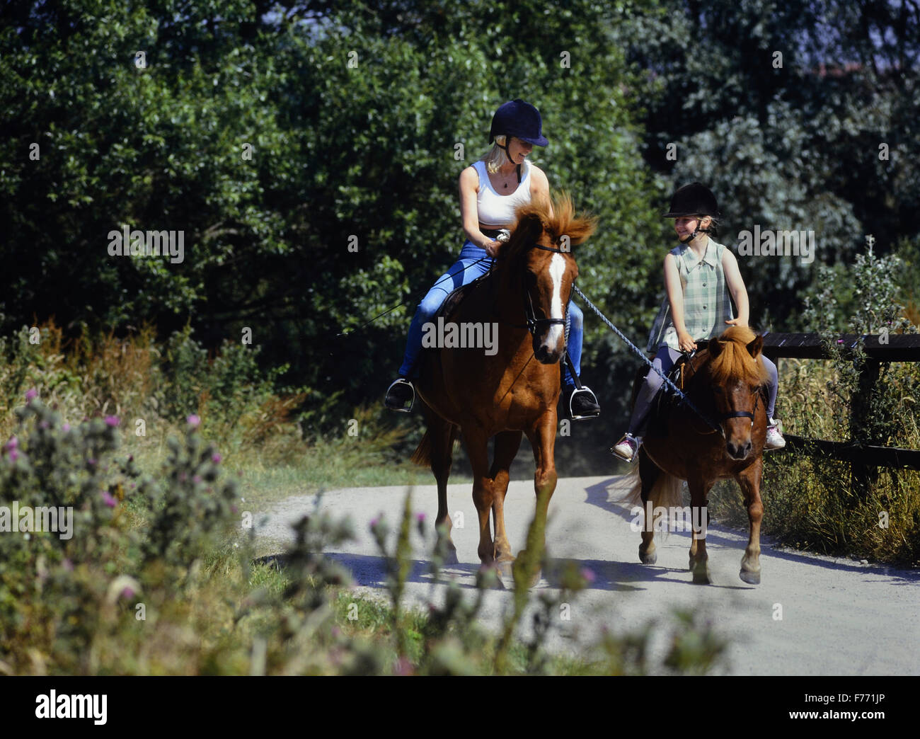 Using a lead rein to train a pony and young horse rider. UK - Stock Image