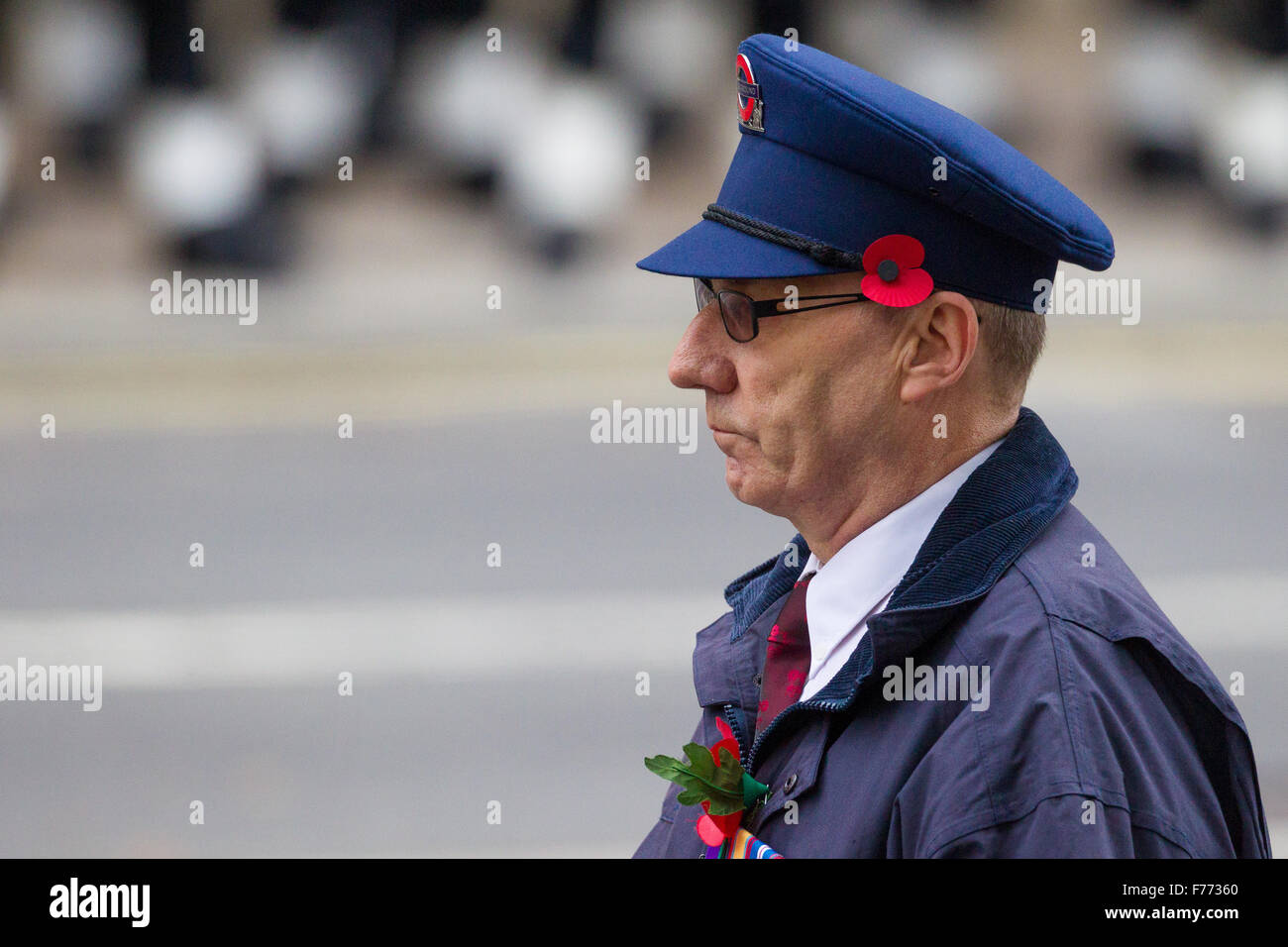 Eric Reeve on to way to the Cenotaph to lay a wreath on behalf of Transport for London - Stock Image