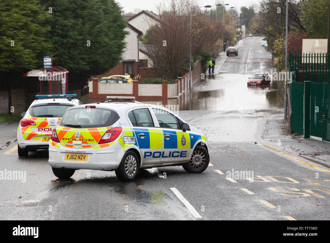 Flooding that occurred on Pasture Lane, Clayton, Bradford, on the 15th November 2015 due to heavy persistent rainfall. - Stock Image