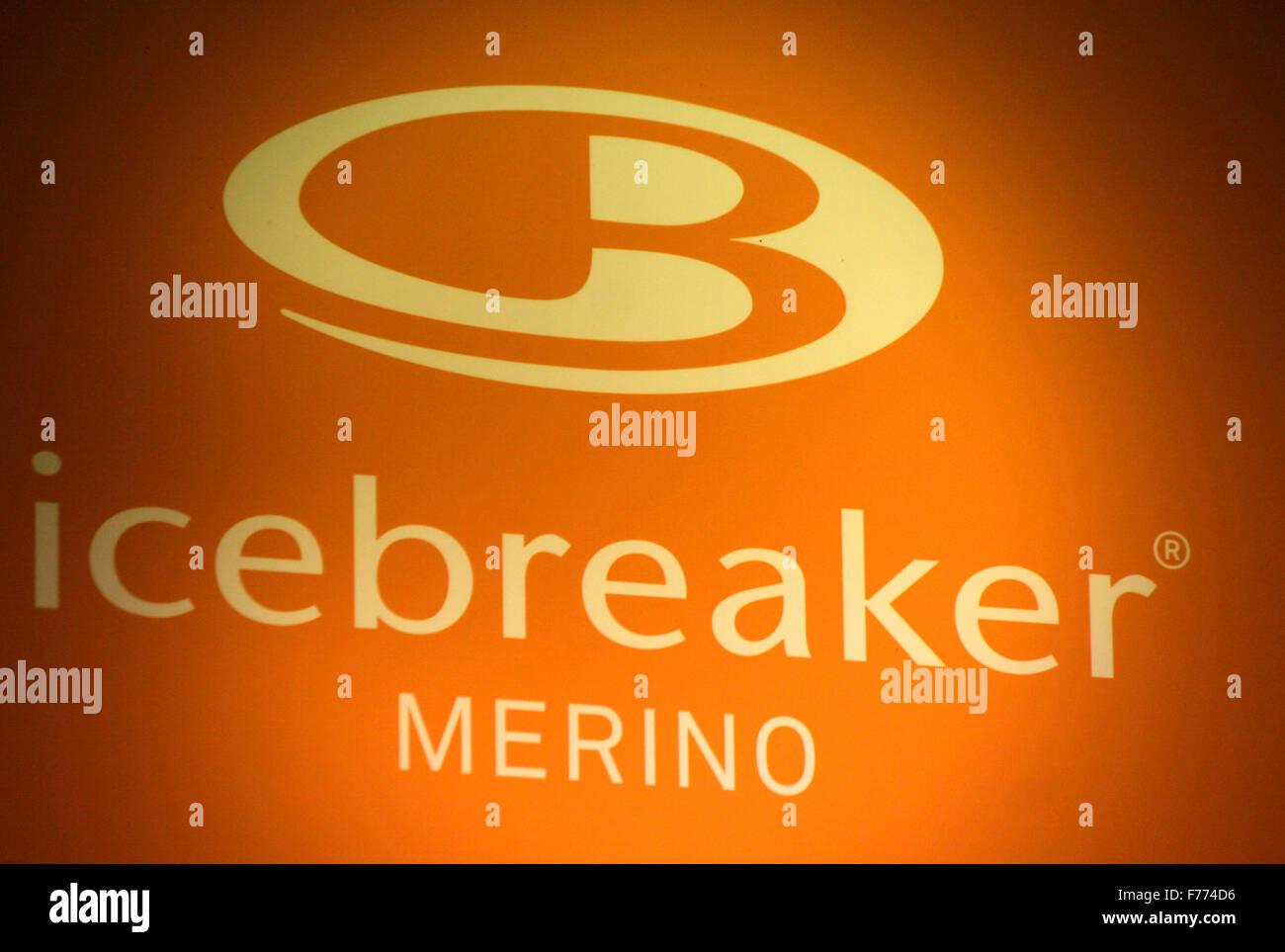 Markennamen: 'Icebreaker Merino', Chamonix, Frankrfeich. - Stock Image