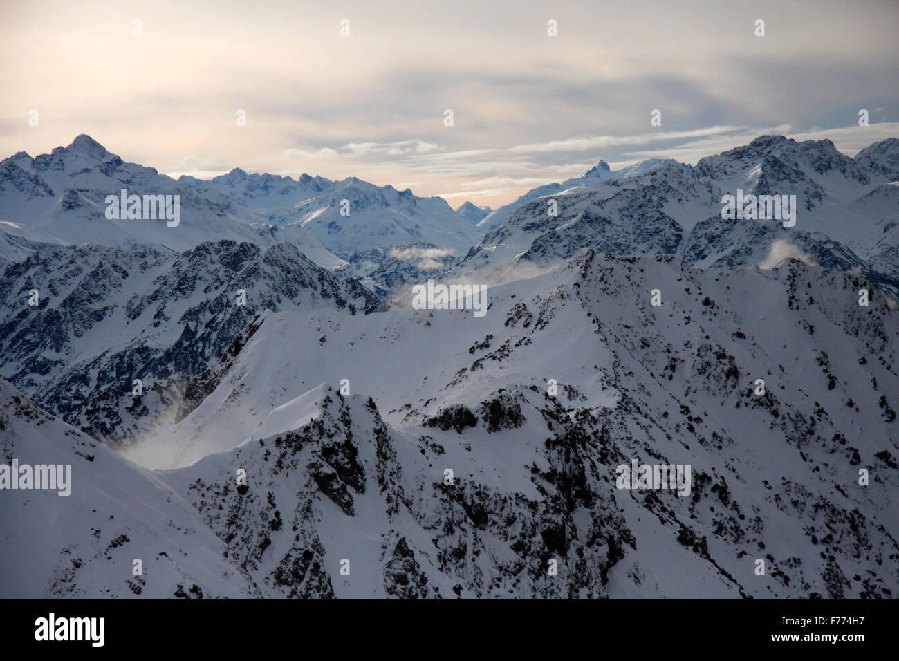 auf dem Nebelhorn, Winterstimmung, Oberstorf, Bayerische Alpen. - Stock Image