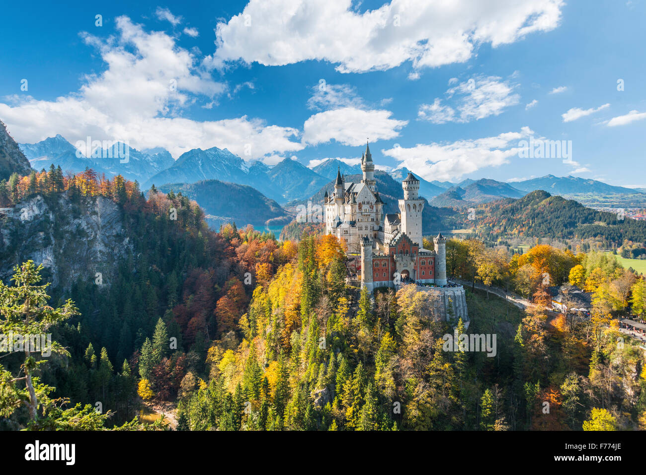 Neuschwanstein Castle in autumn, Alpsee behind, Schwangau, Ostallgäu, Allgäu, Swabia, Upper Bavaria, Bavaria, - Stock Image