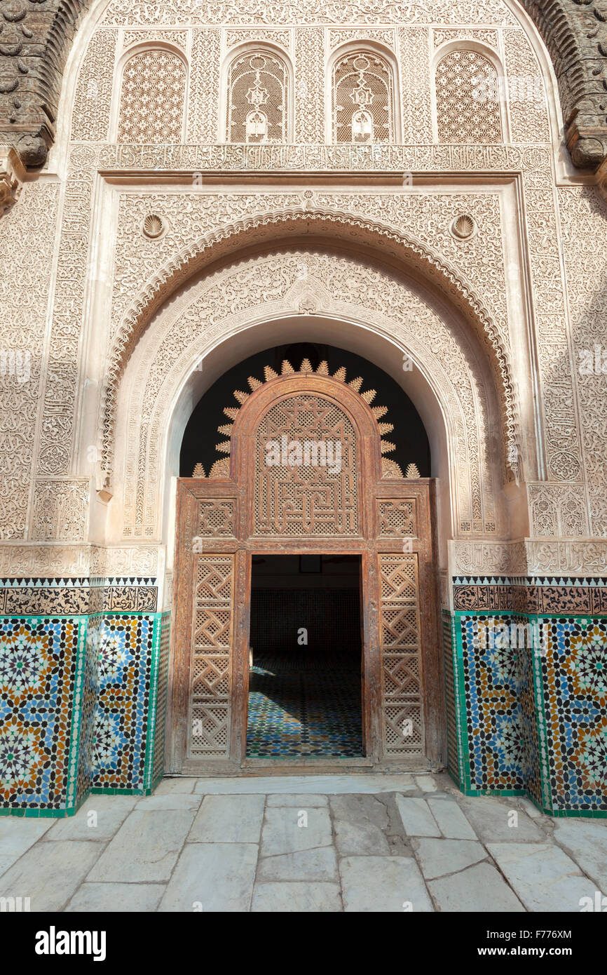 Richly decorated portal, Medersa Ali Ben Youssef , Marrakech, Morocco Stock Photo