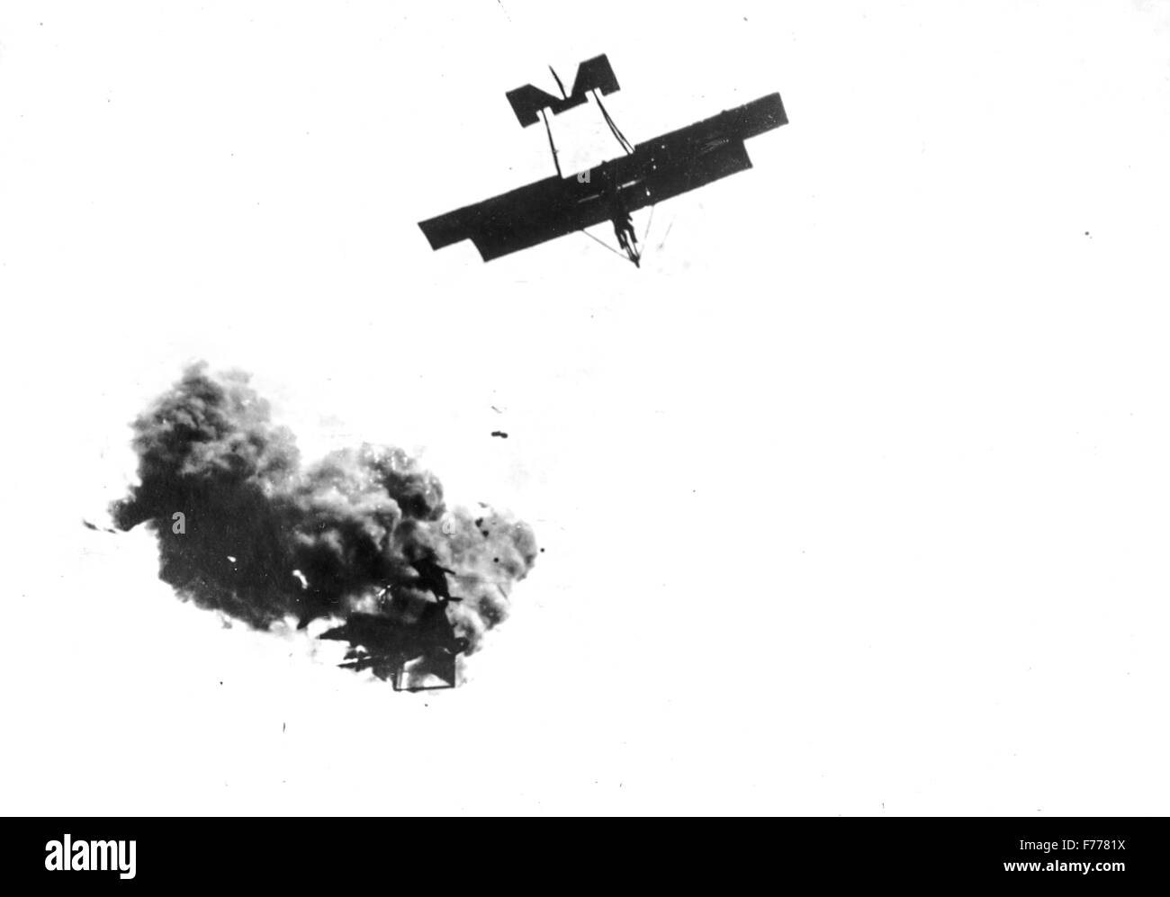 Italian aircraft hit by enemy air defenses in the early months of the war,1917 - Stock Image