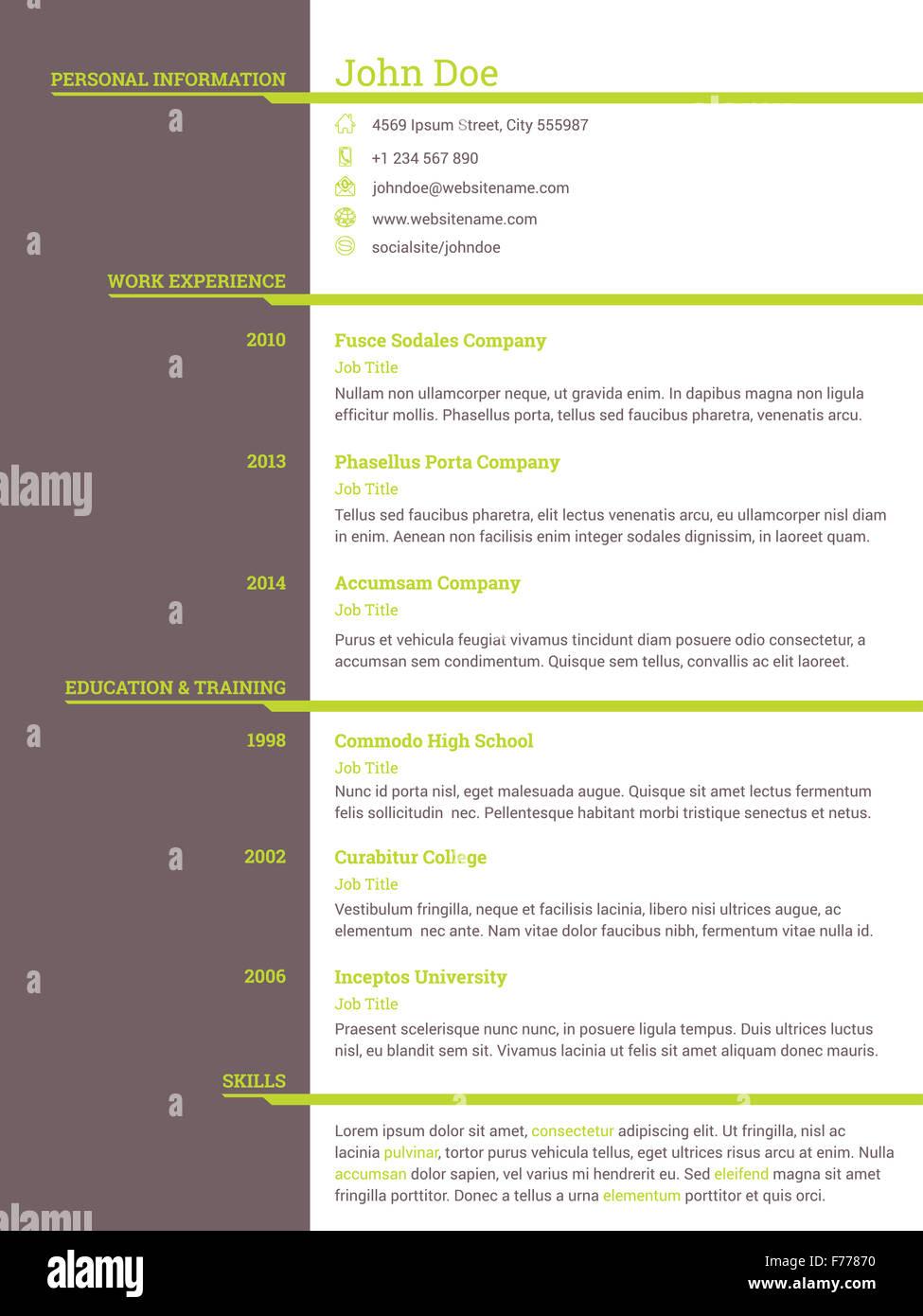 Modern Resume Cv Curriculum Vitae Template Design For Job Seekers