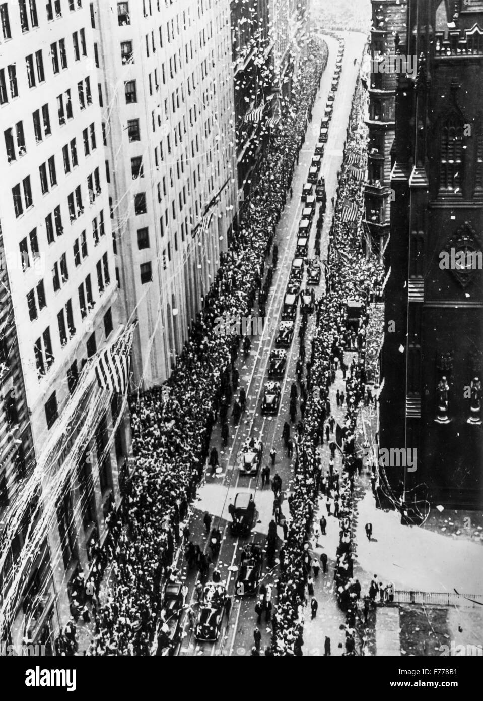 the triumphal procession on Broadway,New York after the flight across the Atlantic by Italo Balbo,1933 - Stock Image