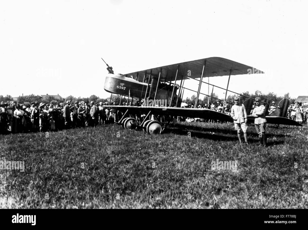 Caproni aircraft is shown to the people close to the front in 1916 - Stock Image
