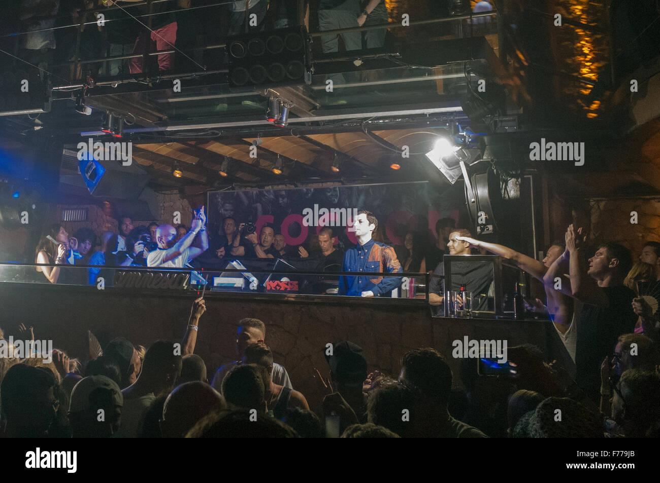 DJ Dixon playing at Cocoon Amnesia club in Ibiza Stock Photo