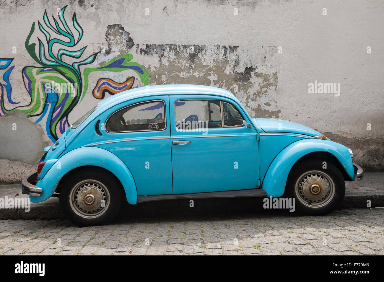 RIO DE JANEIRO, BRAZIL - OCTOBER 22, 2015: Classic bright blue Volkswagen Type 1 Beetle, known locally as a Fusca, - Stock Image