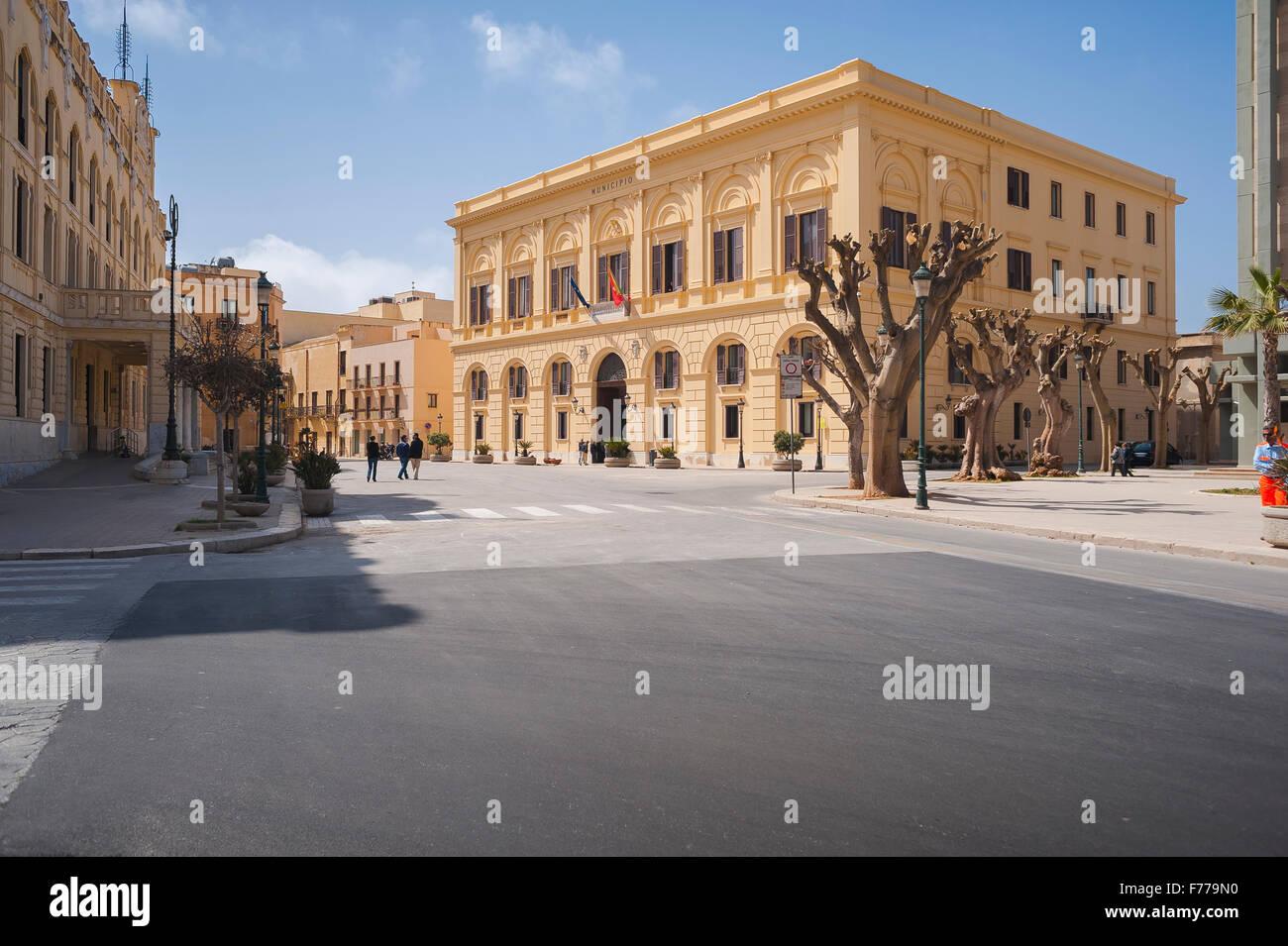 Trapani Sicily, The Town Hall (Palazzo Pubblico) in the Via Fardella in Trapani, Sicily. - Stock Image