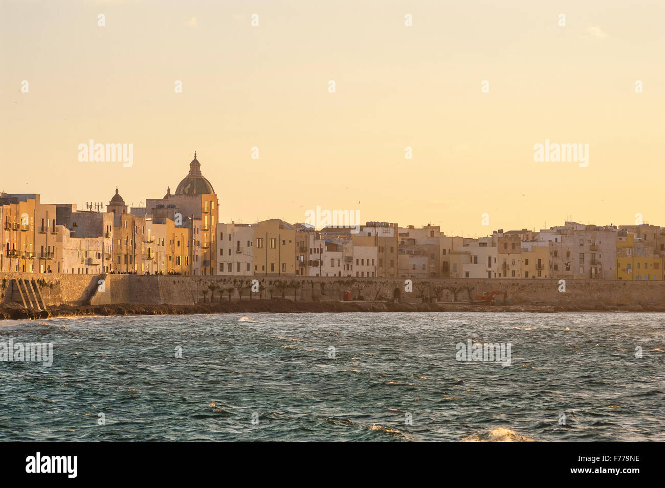Trapani skyline, the sea wall on the north side of Trapani, Sicily. - Stock Image