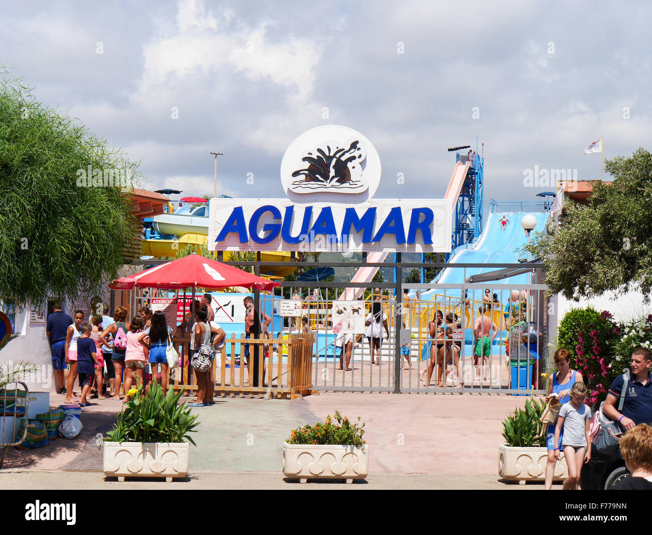 Entrance to Aguamar Water Park, Platja d'en Bossa, Ibiza Spain Stock Photo