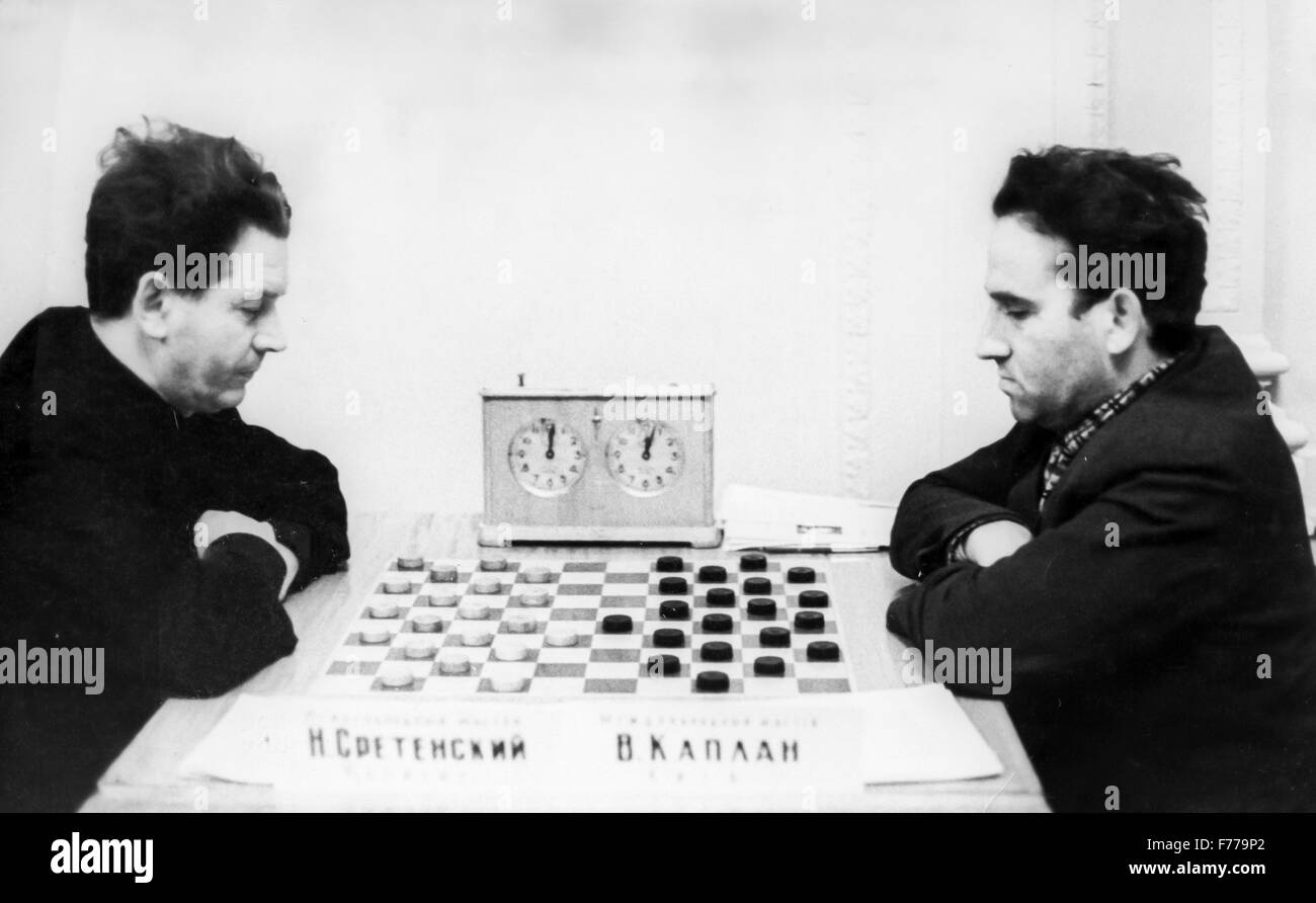 checkers,moscow 1950 - Stock Image