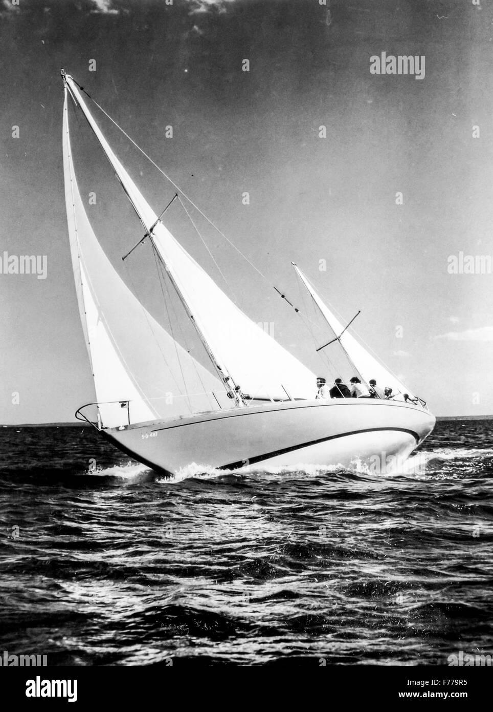 fiberglass sailboat,bermuda race,1958 - Stock Image