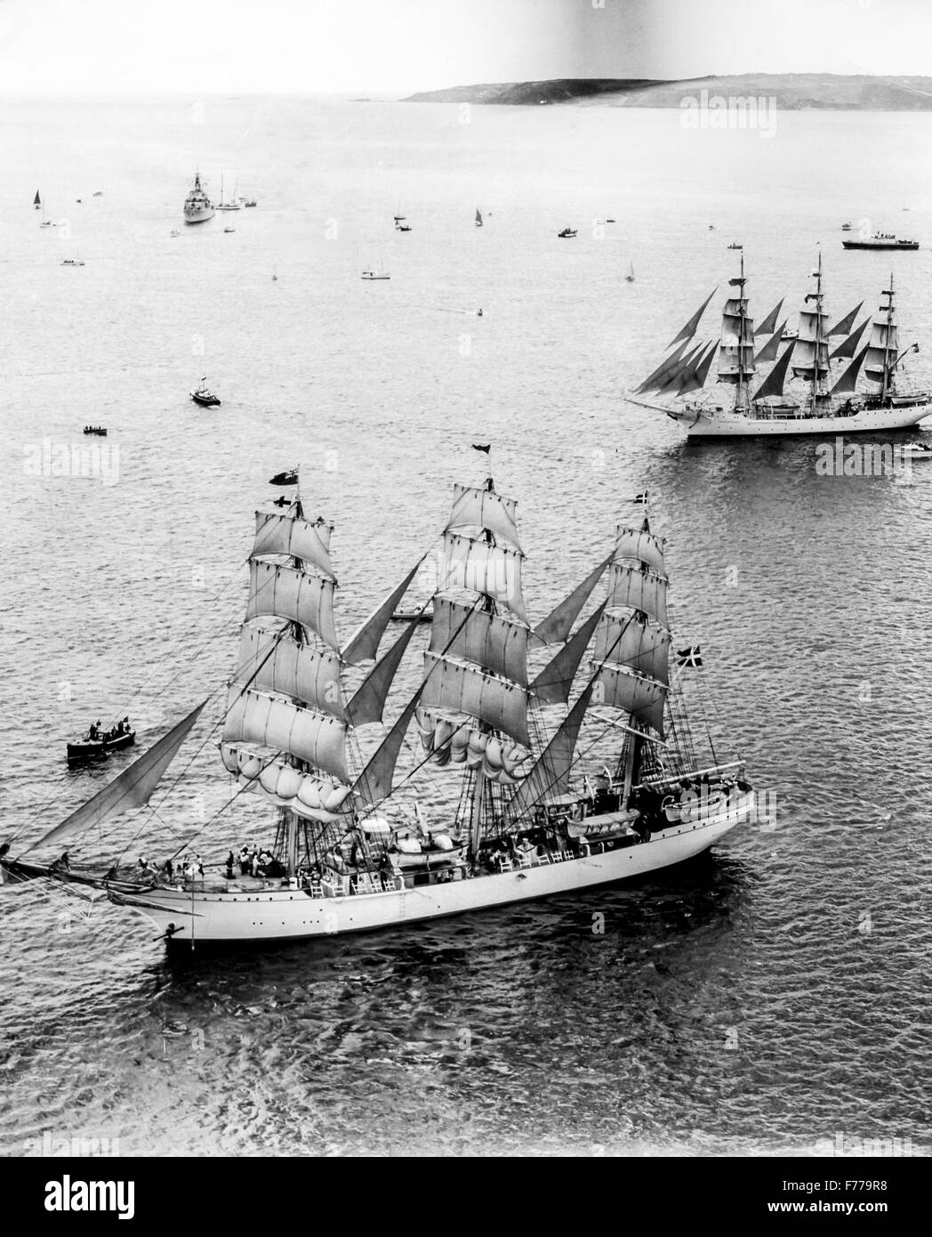 the danmark ship Danish and Norwegian Christian Radich,Falmouth tall ships regatta,England 1966 - Stock Image