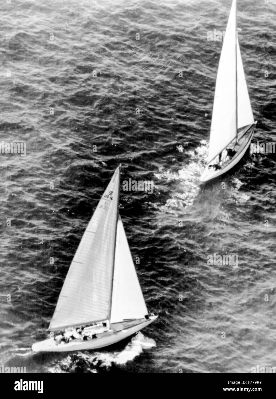 the british boat scepter in the first position and the second Columbia during the America's Cup,newport 1958 - Stock Image
