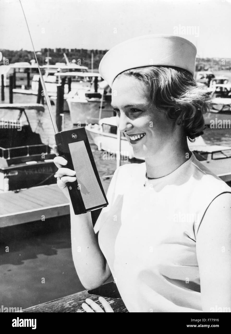 a model test a new walkie talkie for civilian use,1962 - Stock Image