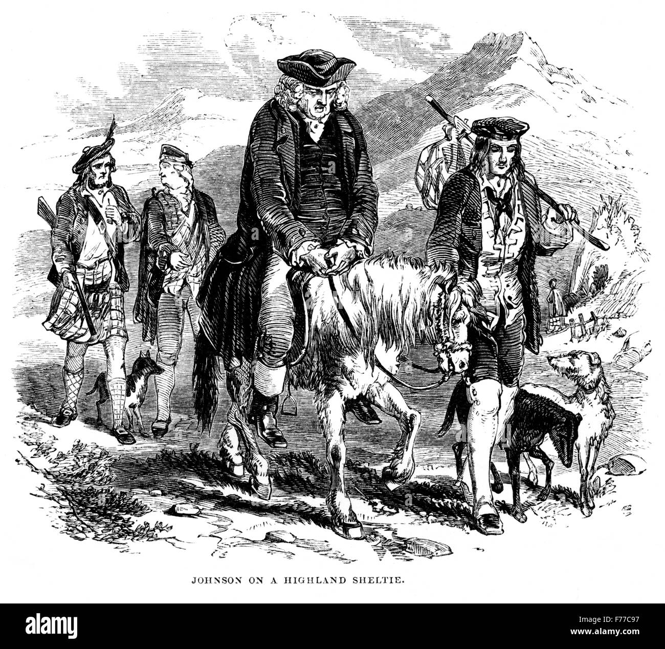 An engraving of Johnson on a Highland Sheltie scanned at high resolution from a book printed in 1852. On the Isle - Stock Image