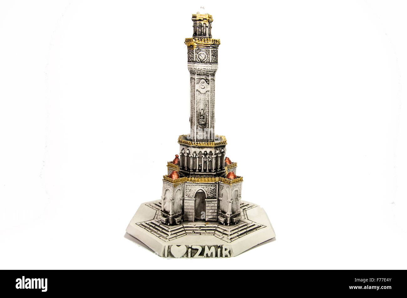Miniature Model of Izmir Clock Tower by white bacground - Stock Image