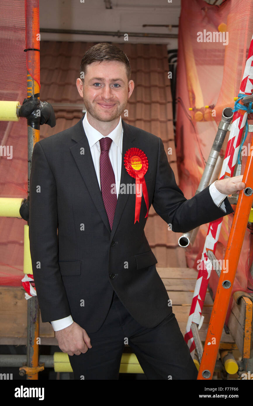 Royton, Manchester, UK. 26th November, 2015. Labour party MP candidate for Oldham West & Royton, Cllr James - Stock Image