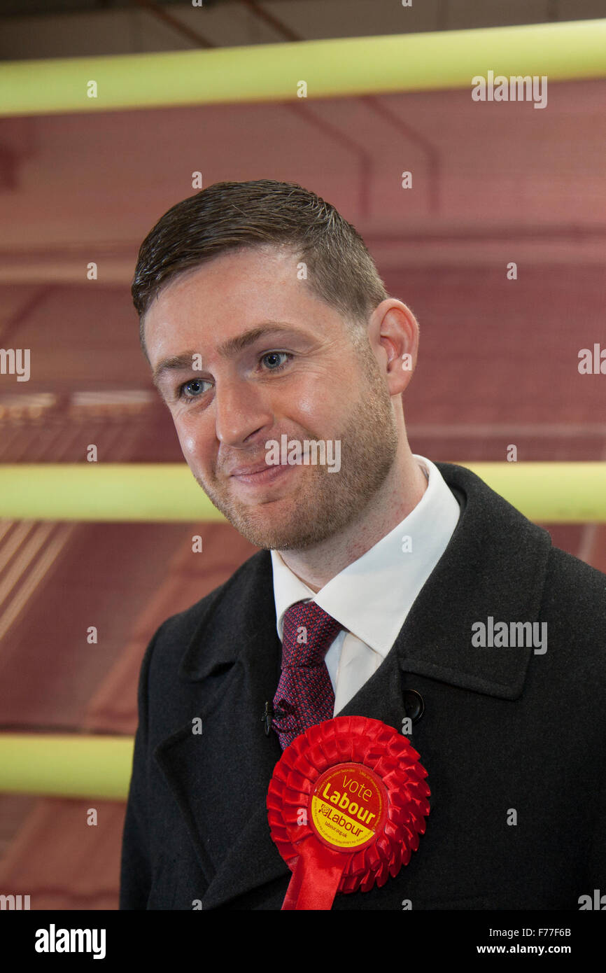 Royton, Manchester, UK. 26th November, 2015. Labour party candidate for Oldham West & Royton, Cllr James 'Jim' - Stock Image