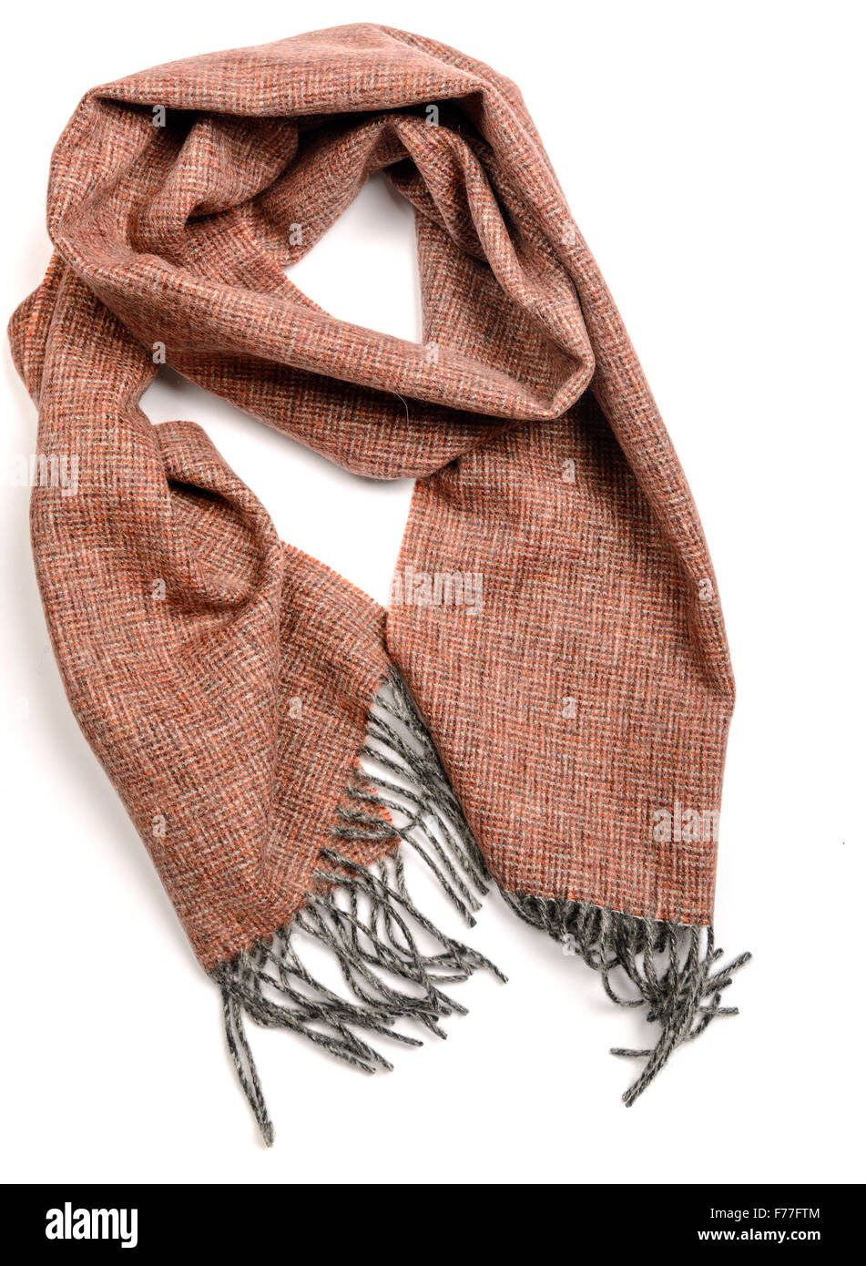Brown lamb wool scarf isolated - Stock Image