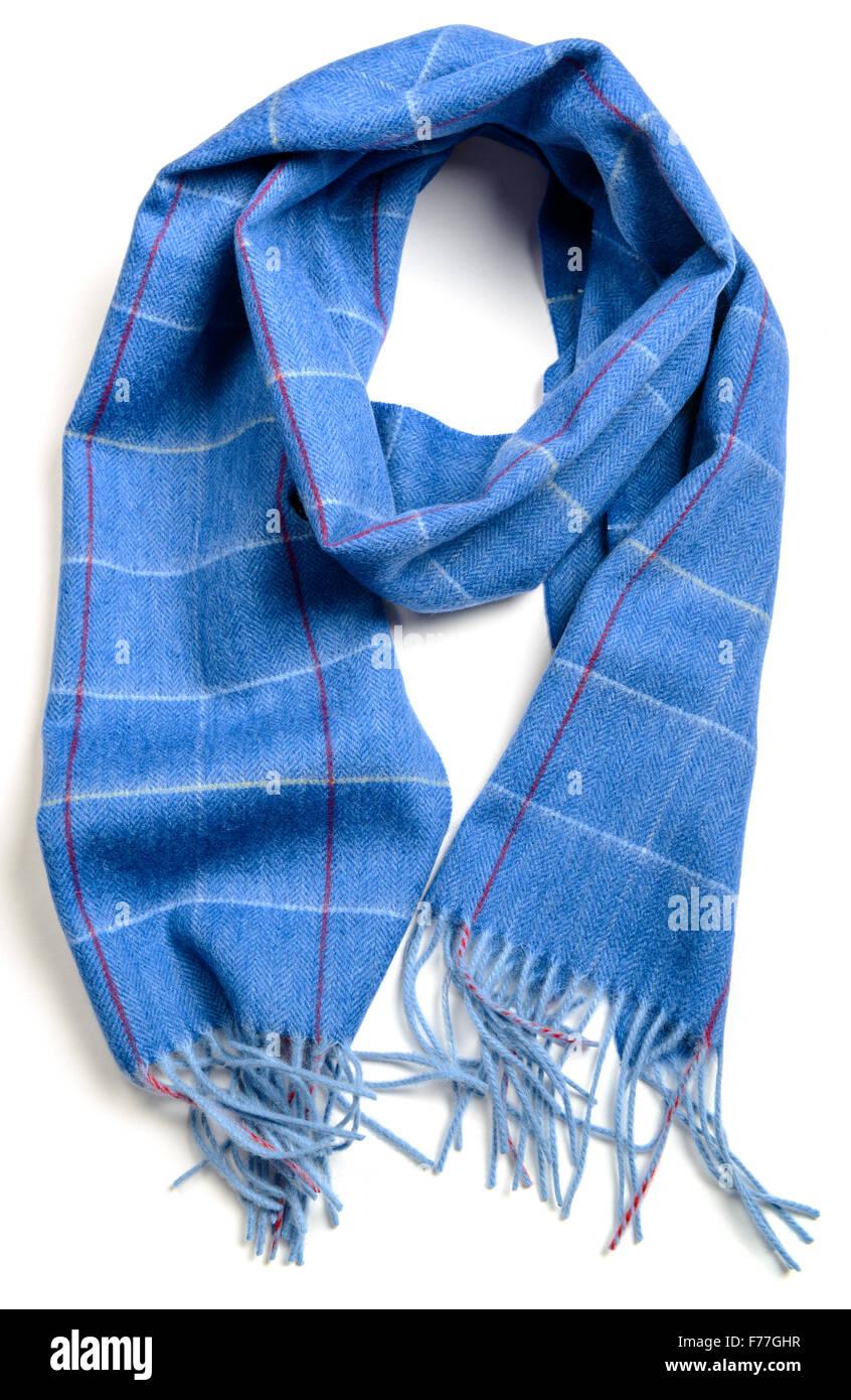 wool blue chekered scarf on white - Stock Image