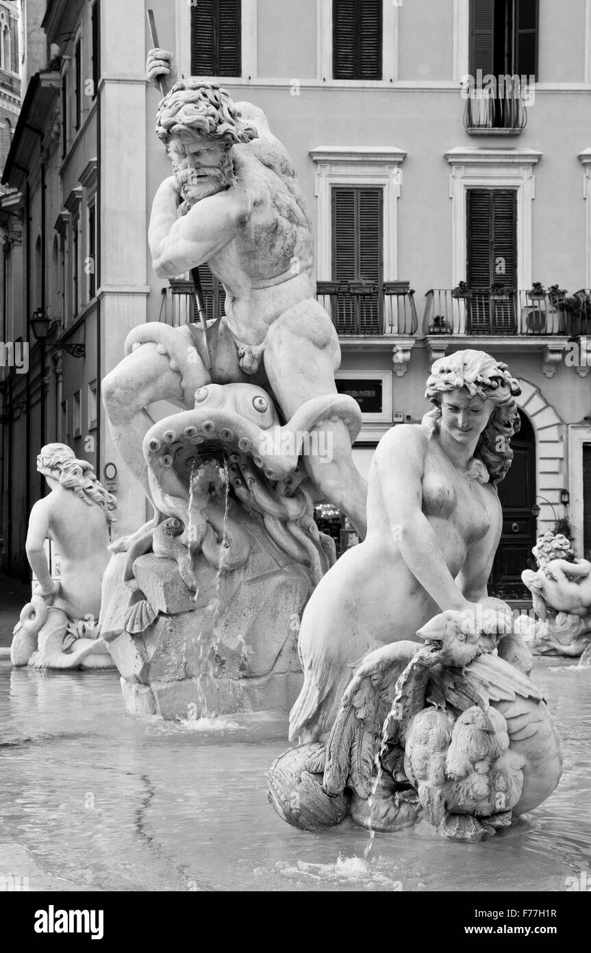 Piazza Navona, Rome, Italy, Particular of the Fountain - Stock Image