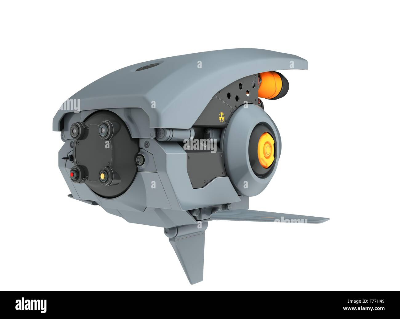 3D  render of a sci-fi drone isolated on white background Stock Photo
