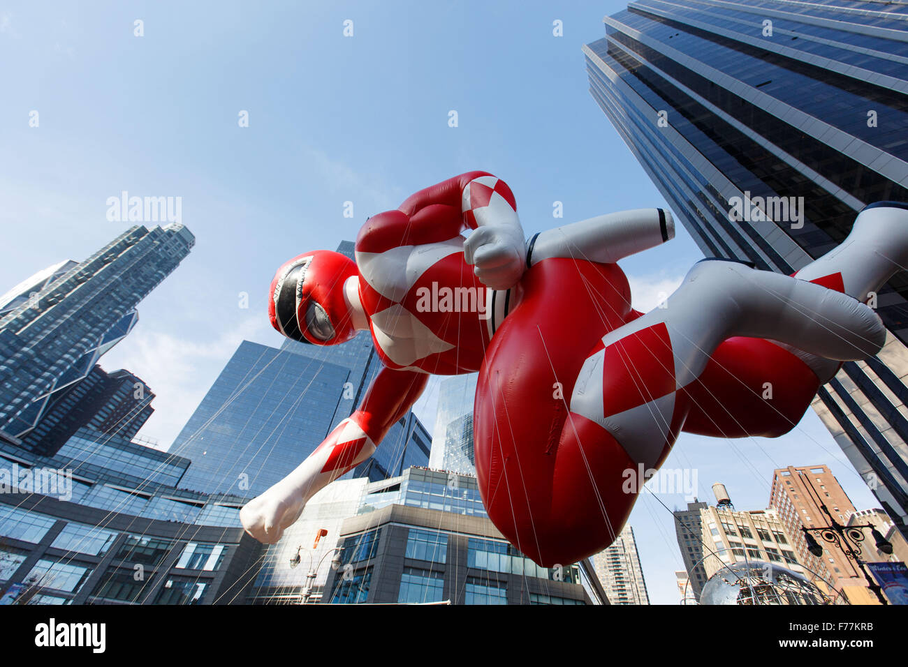 New York, USA. 26th Nov, 2015. Photo taken on Nov. 26, 2015, shows the balloon of 'Red Mighty Morphin Power - Stock Image