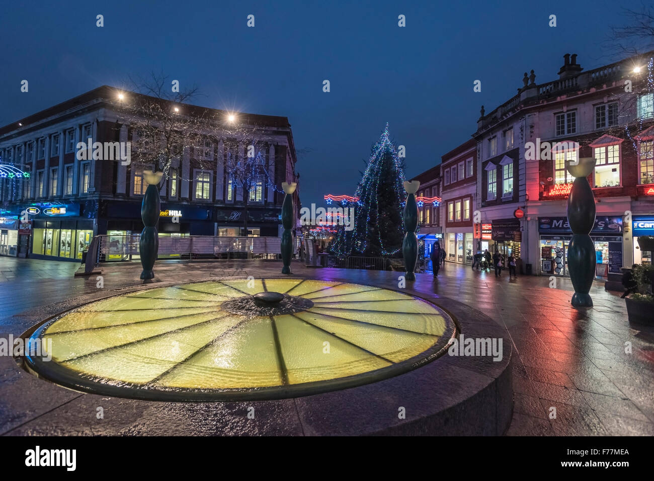 Warrington town centre decorated with christmas lights and decorations. Cheshire North West England. Stock Photo
