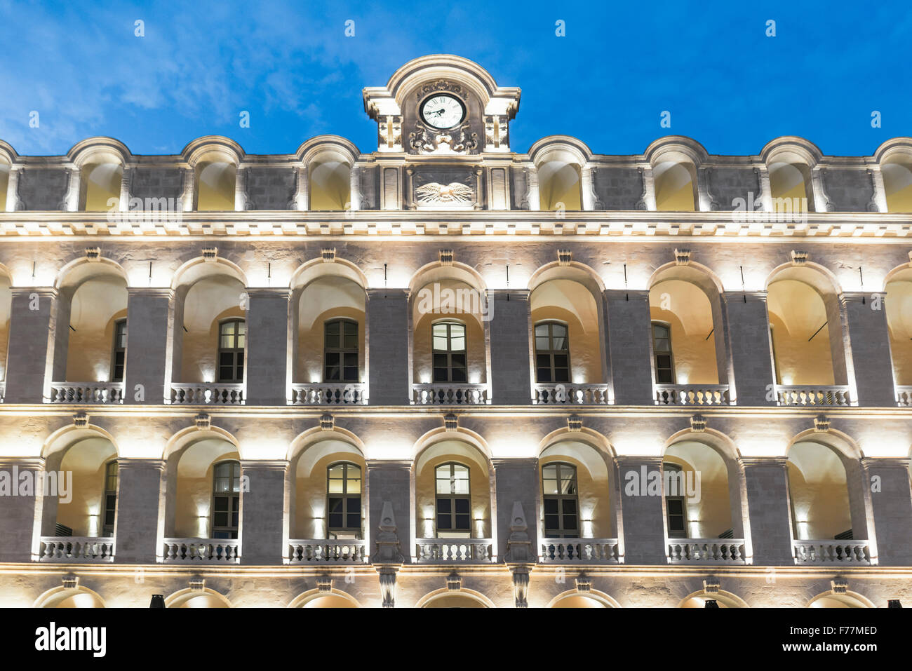 Facade of Intercontinental Marseille - Hotel Dieu, fice star, Vieux port. The hotel sits on the location of the - Stock Image