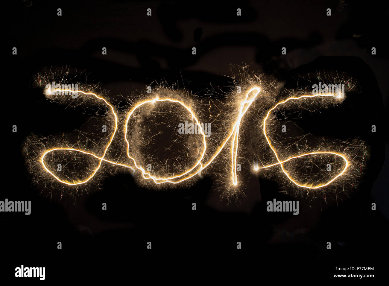 2016, New Year's Eve, Light painting, Black Background, New Year, Neujahr, Sylvester, Jahreswechsel, - Stock Image