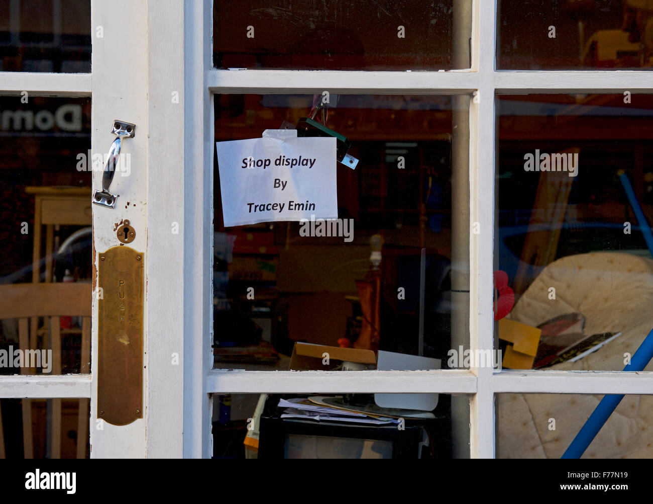 sign: shop window by Tracey Emin, England UK - Stock Image