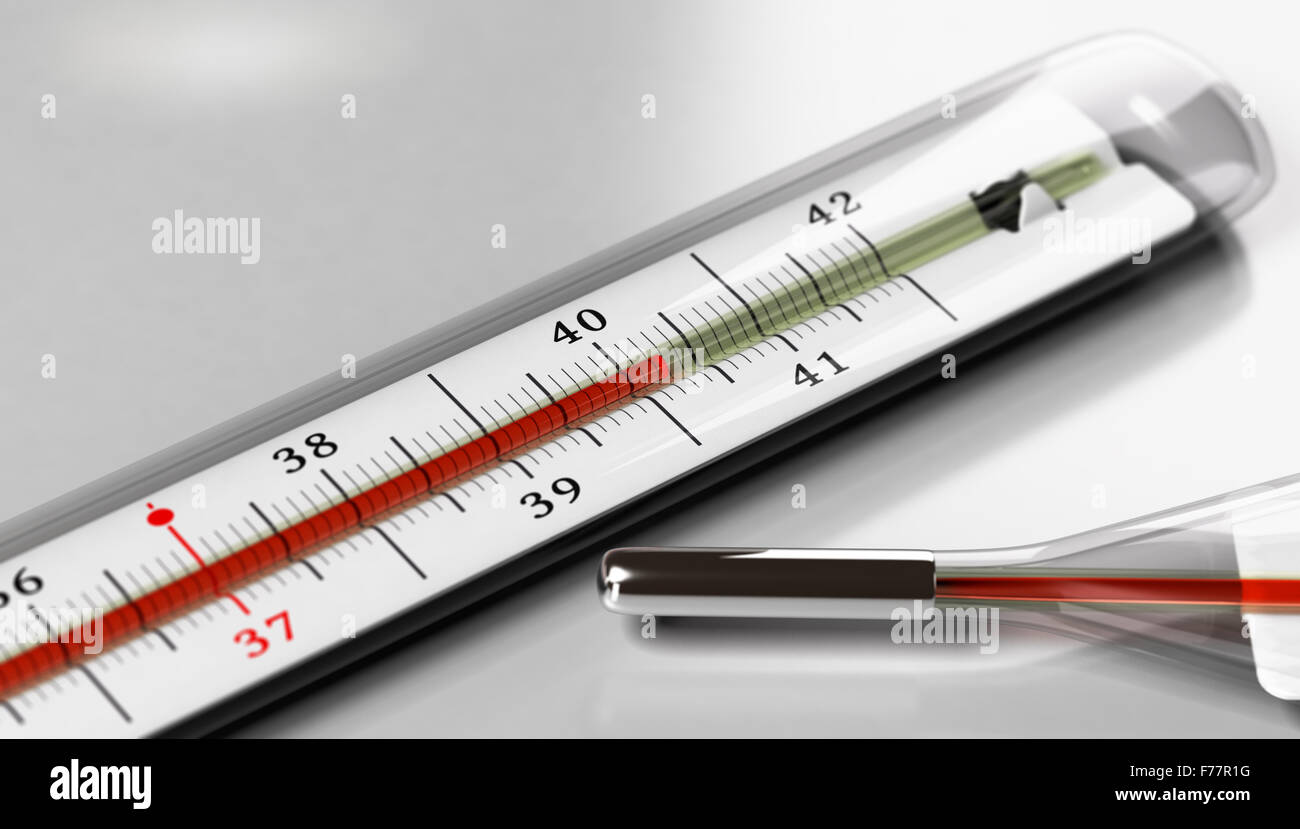 Thermometer over grey background. Image for illustration of fever or high temperature. - Stock Image