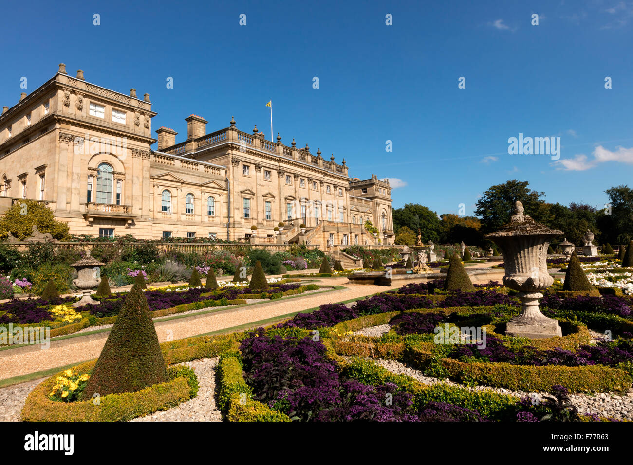Historic Harewood House and gardens near Leeds in Yorkshire. The house designed by architects John Carr and Robert - Stock Image