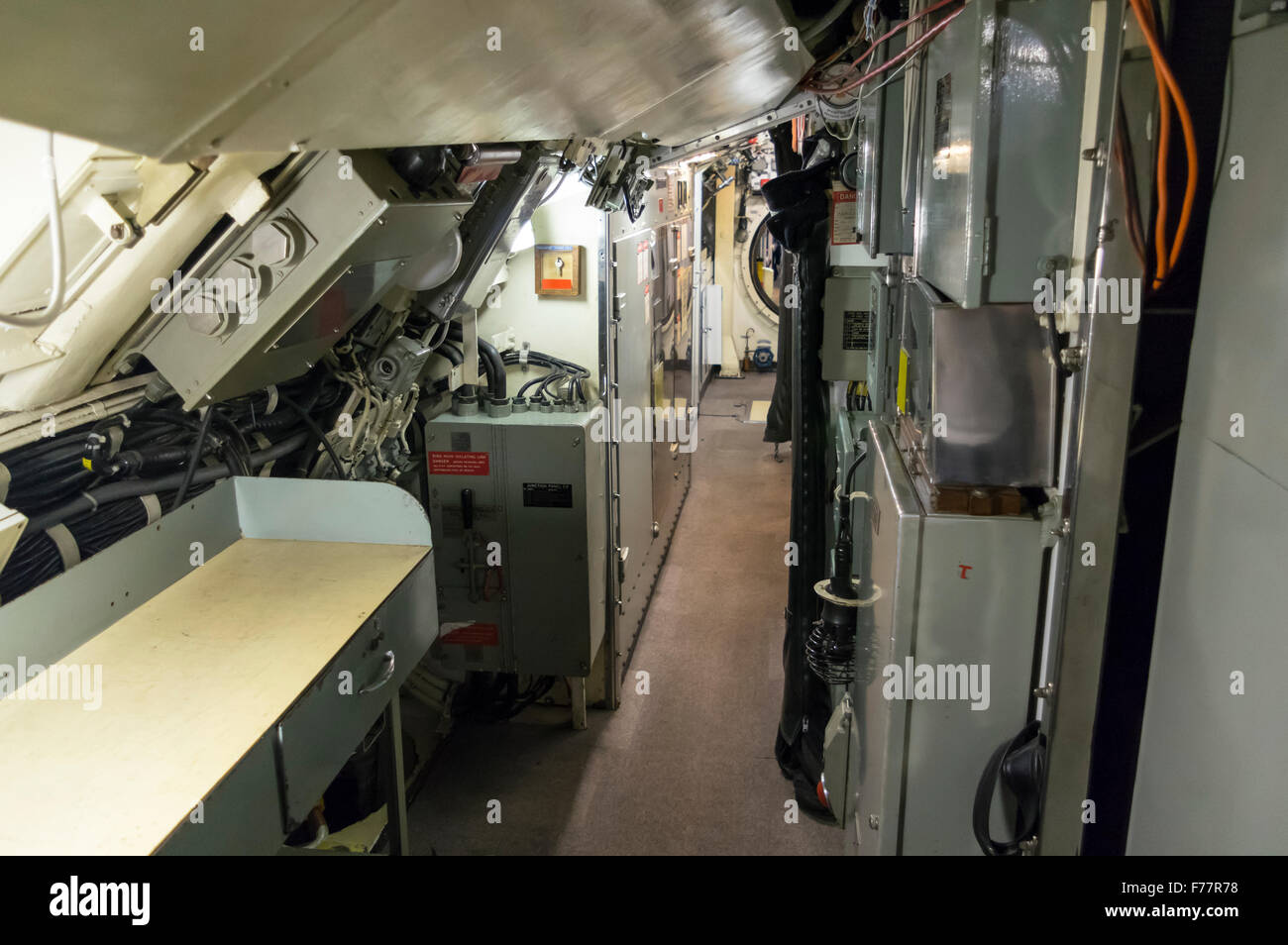 Inside the Royal Australian Navy submarine HMAS Ovens, on display in the Western Australian Maritime Museum, Fremantle. - Stock Image