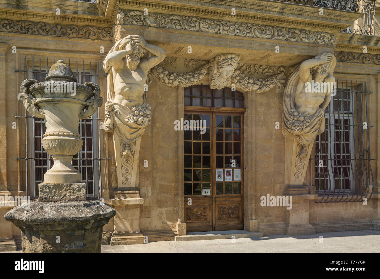 Atlantes, Pavillon Vendome, Aix en Provence, France - Stock Image