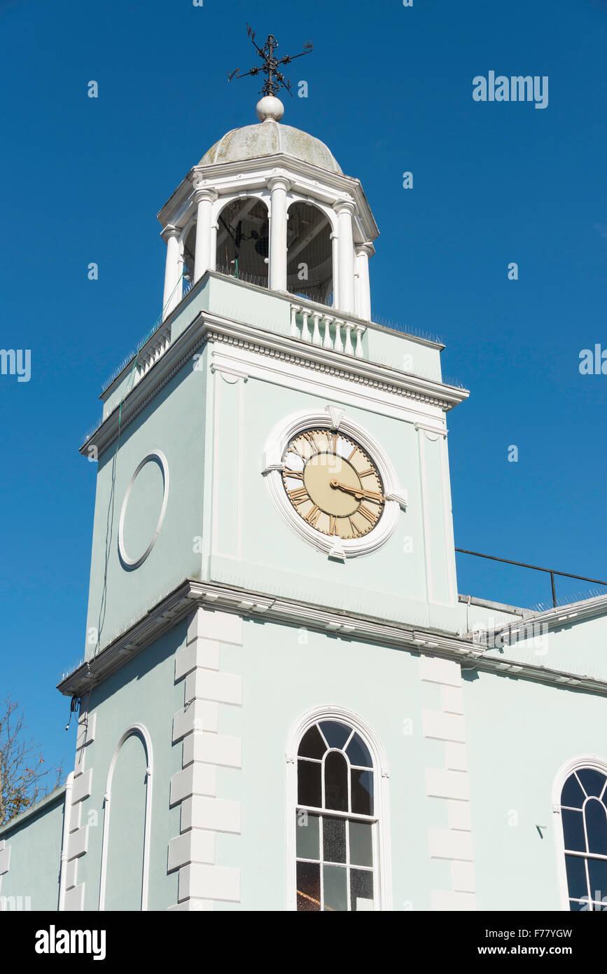 Clock tower, The Guildhall, Market Place, Faversham, Kent, England, United Kingdom Stock Photo