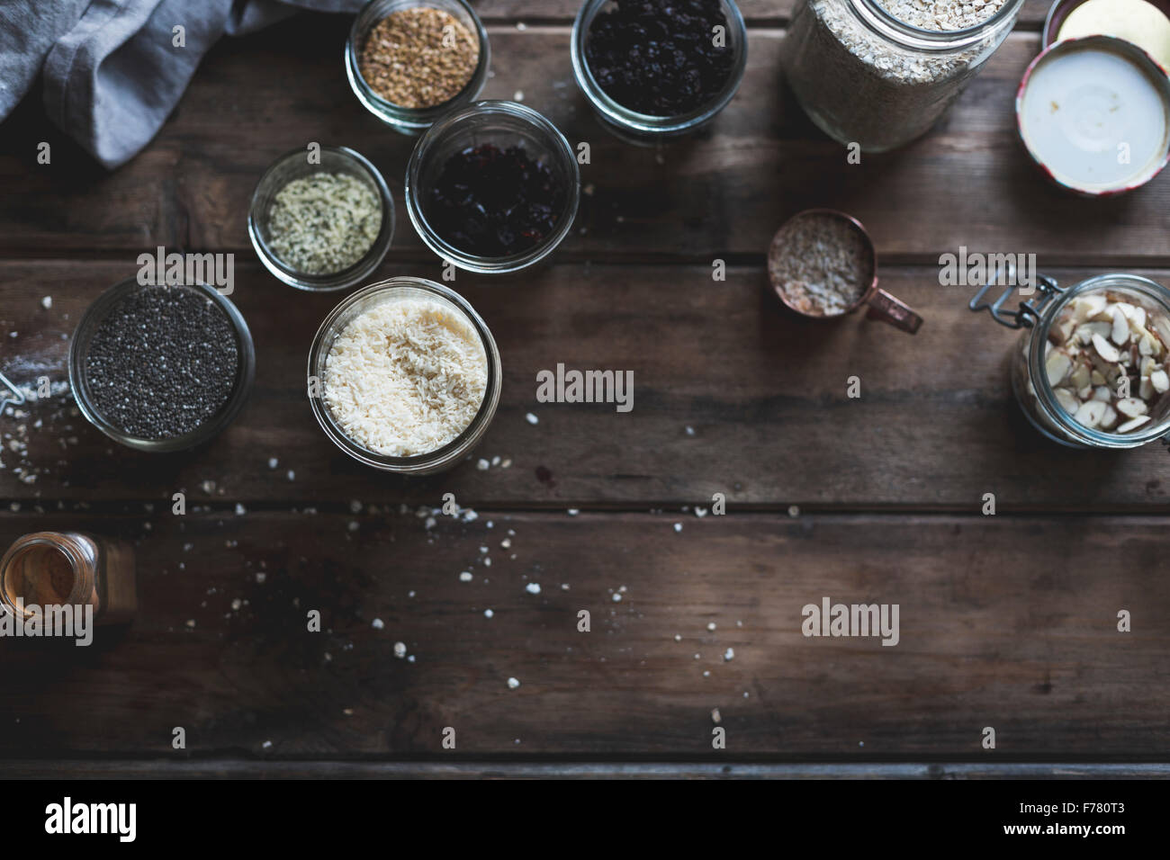Various kitchen ingredients in pots for cookery - Stock Image