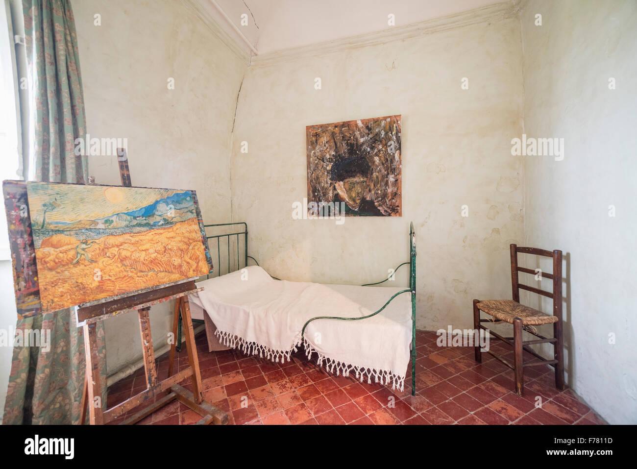 reconstruction of Vincent Van Gogh s room in asylum of St Paul de Mausole ,  St Rémy de Provence, France - Stock Image