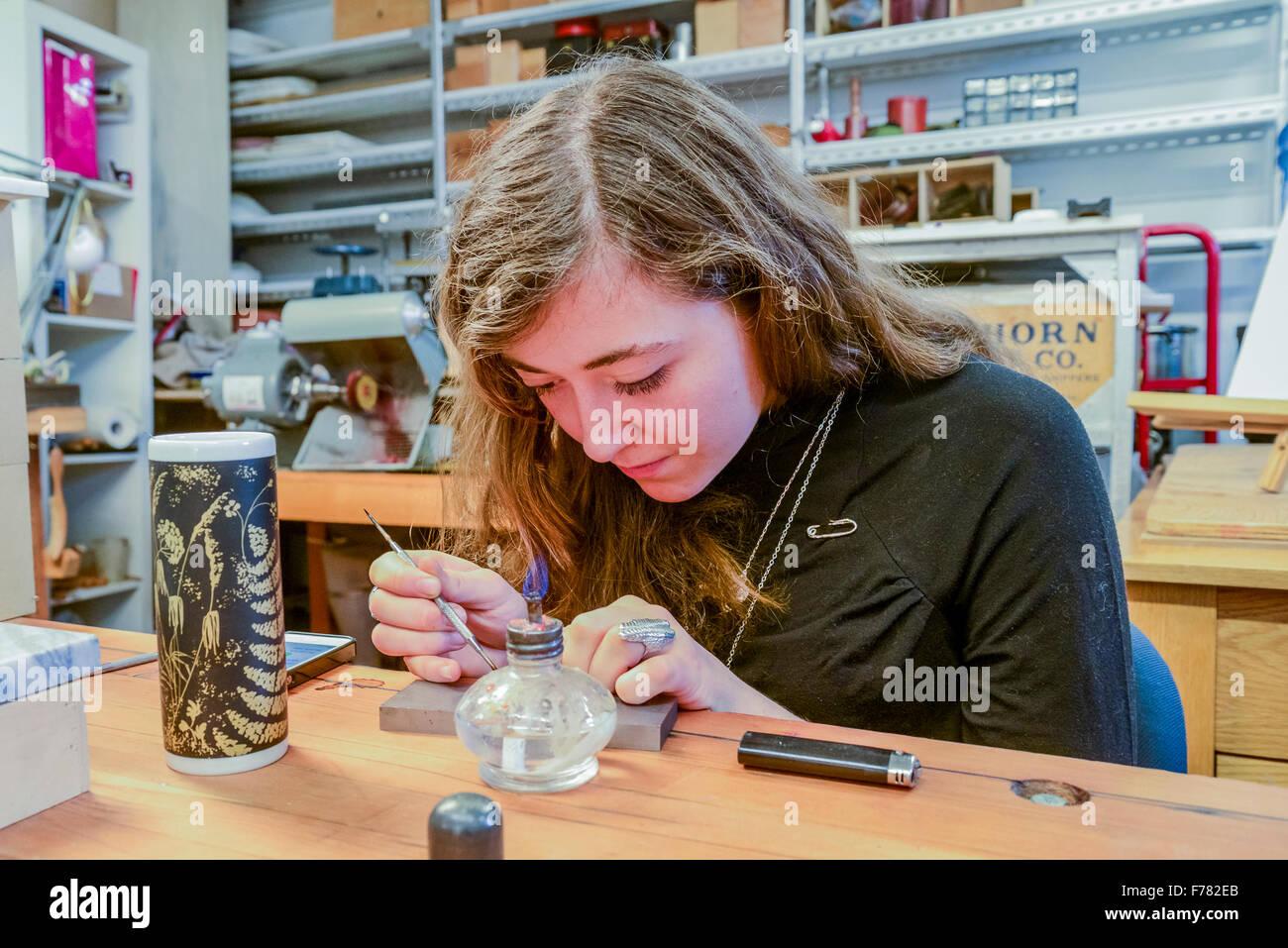 Jeweller, Parker Street Studios, 2015, East Side Culture Crawl, Vancouver, British Columbia*, Canada - Stock Image