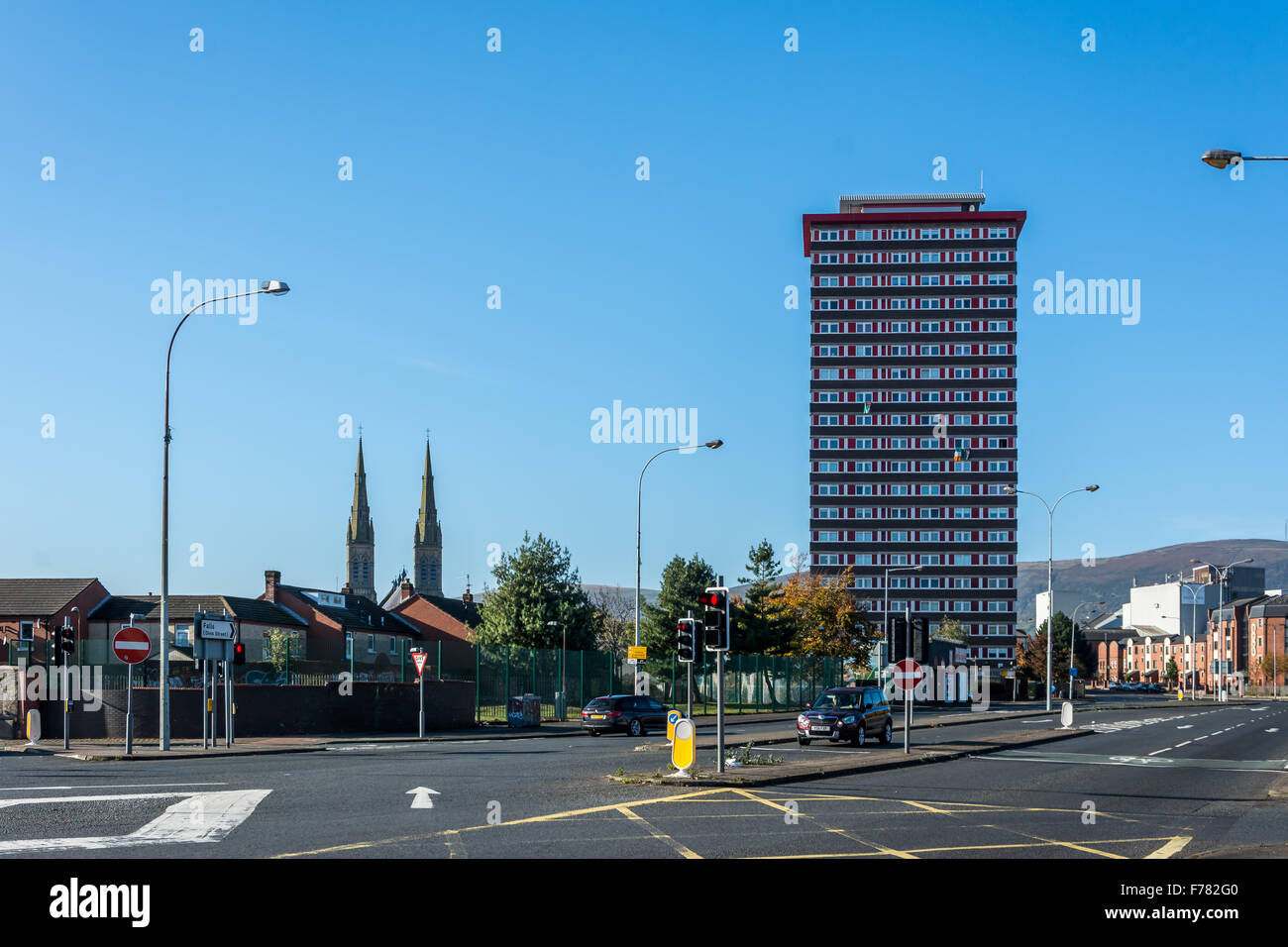 Divis Tower standing at the foot of Falls Road in Belfast - Stock Image