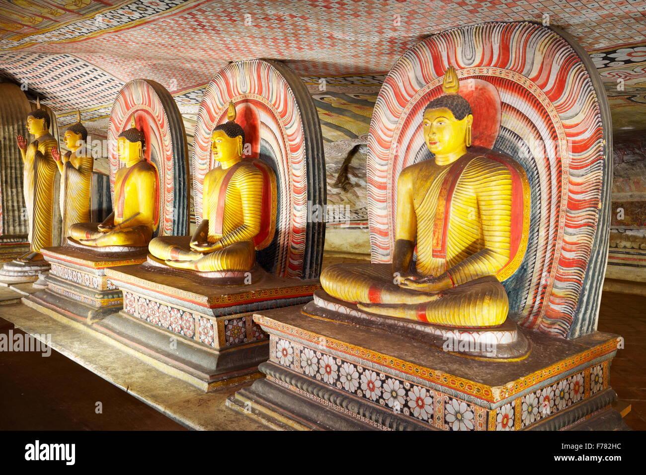 Buddish Cave Temple Dambulla, Sri Lanka, Kandy province, UNESCO World Heritage Site Stock Photo