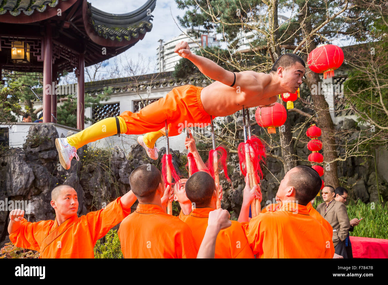 Triumph over Pain, Five Spears Demonstration performance by Shaoliin monks, Dr. Sun Yat Sen Classical Chinese Garden, - Stock Image