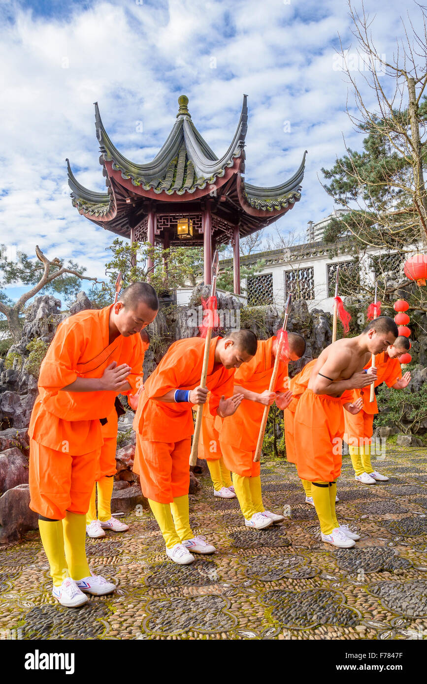Expert Kung fu performance by Shaolin monks, Dr. Sun Yat Sen Classical Chinese Garden, Vancouver, British Columbia, - Stock Image