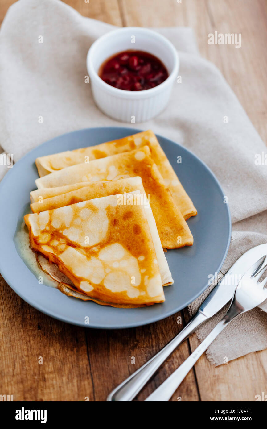 Pancakes with marmalade - Stock Image