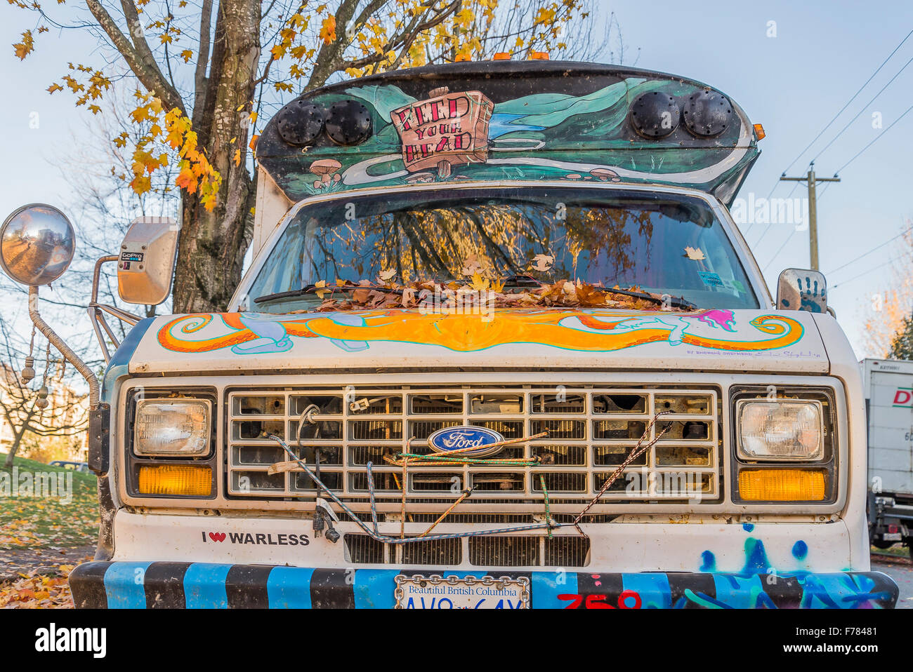 Hippie van bus - Stock Image