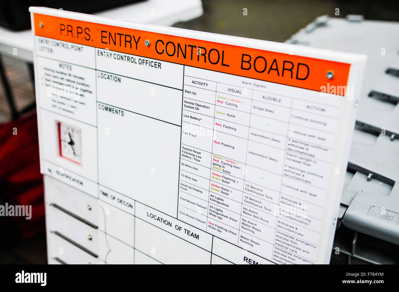 Northern Ireland. 26th November, 2015. PRPS entry control board to ensure the safety of operators using a Respirex - Stock Image